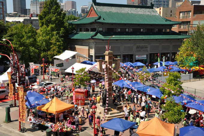overview of busy markets in vancouver's chinatown