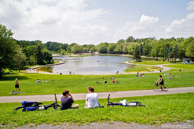 people sitting on the grass in front of Beaver Lake in Montreal