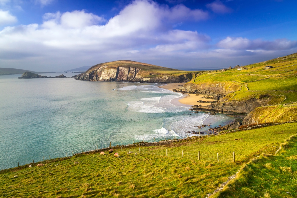 Coumeenole Beach surrounded by countryside - one of the best beaches in Kerry