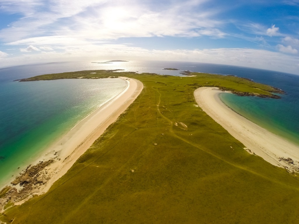 Aerial view of Dog's Bay, Connemara, Ireland