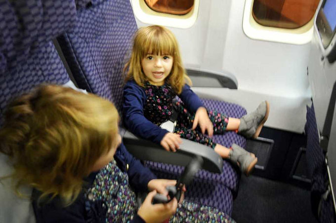 Traveling with children on a plane