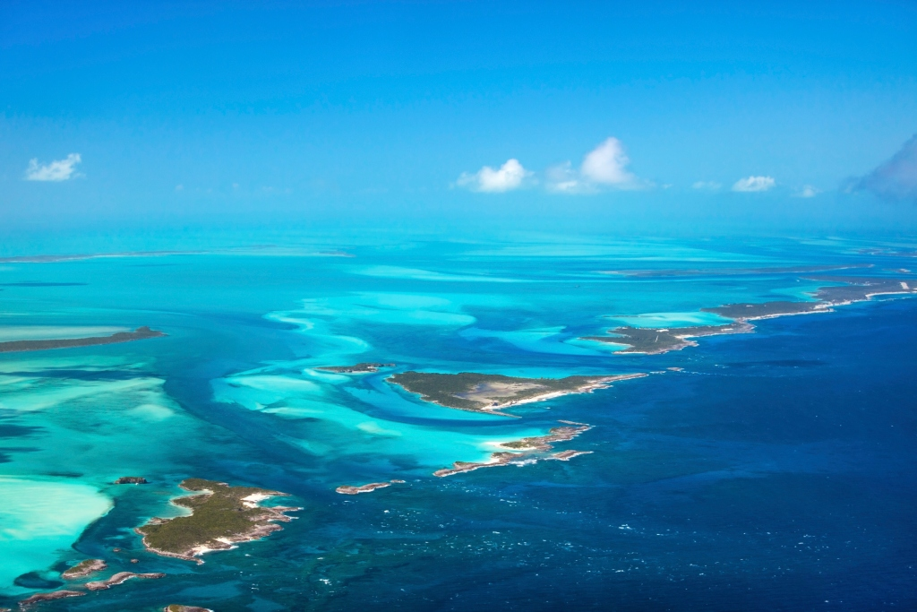 aerial view of turquoise, ocean waters in the Bahamas