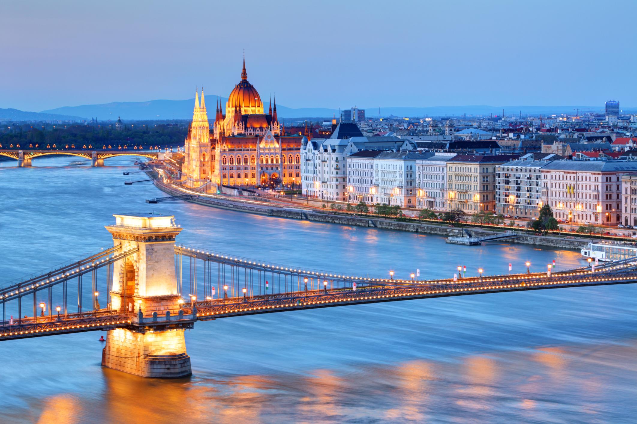 Budapest lit up at dusk