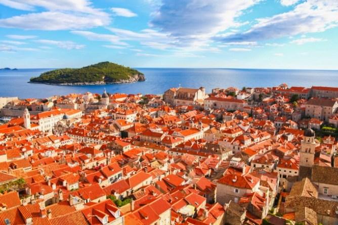 Panoramic view of red rooftops in Dubrovnik, Croatia