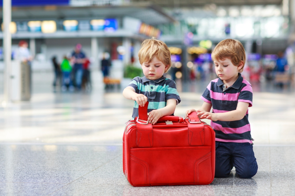 Two boys holding a suitcase