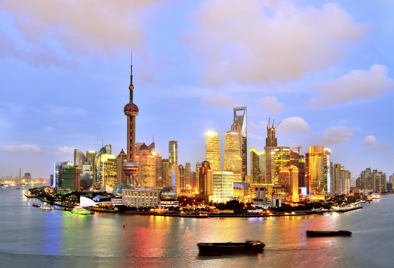 Вид на район Пудун в Шанхае