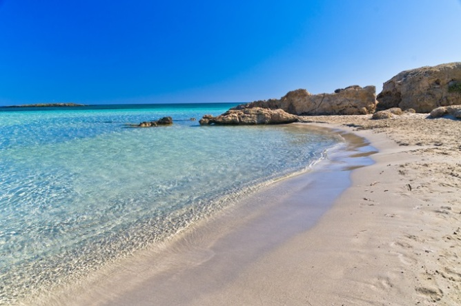 The pinkish sands of Elafonisi beach, Crete