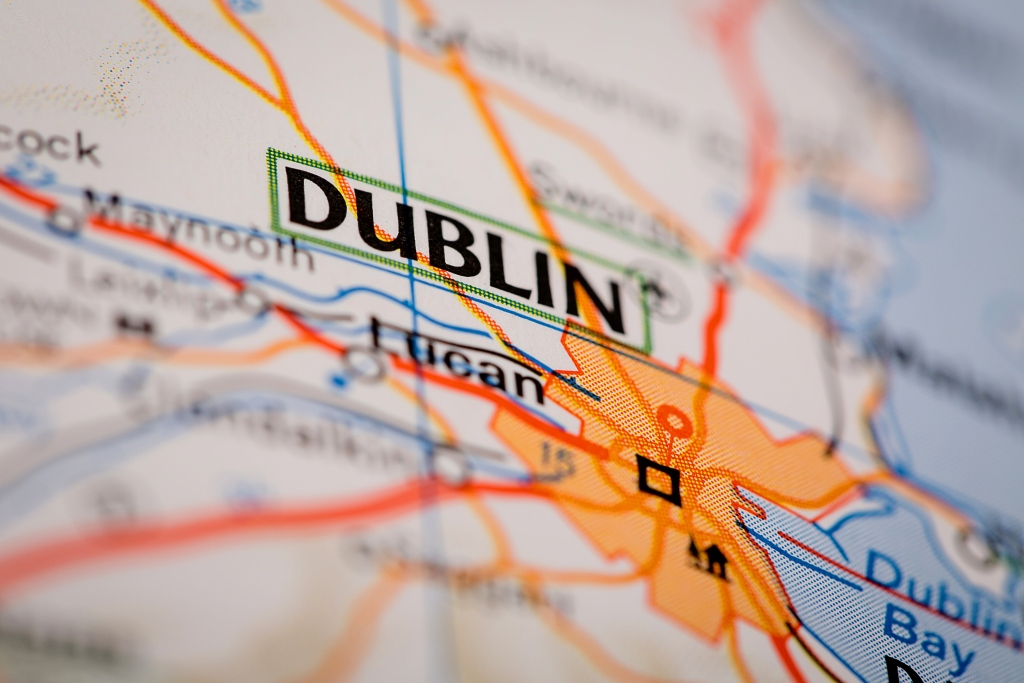 Map with the city of Dublin in focus