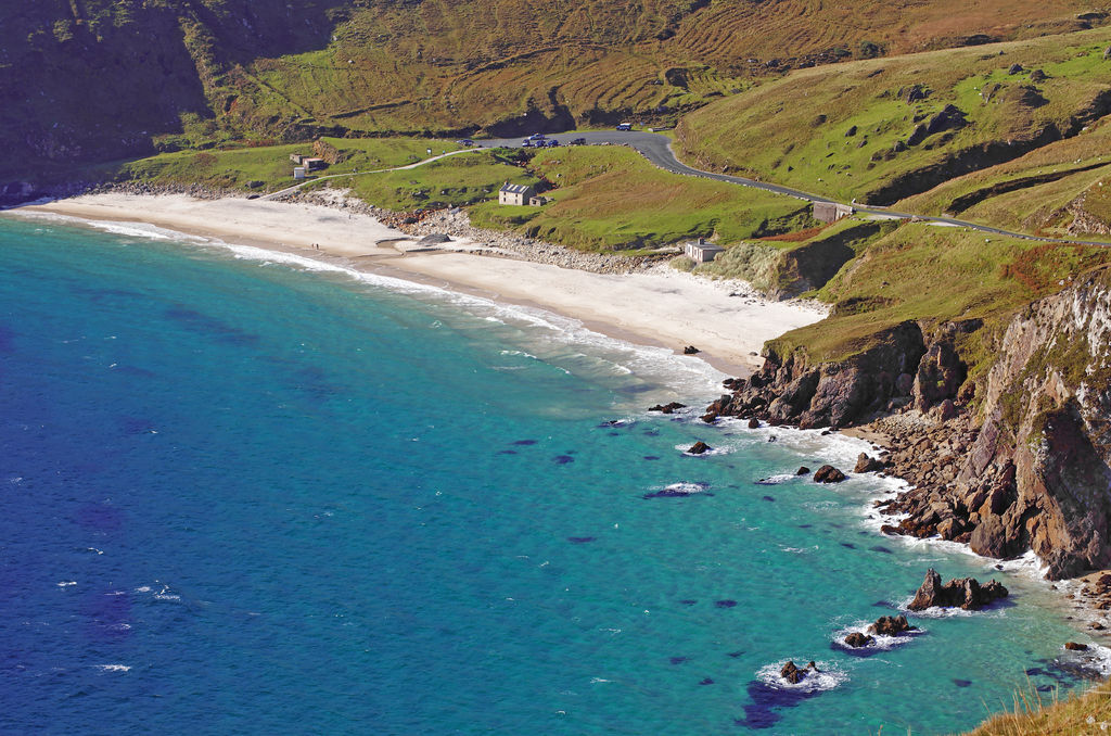 The deep blue Keem Bay, one of the most beautiful beaches in Ireland