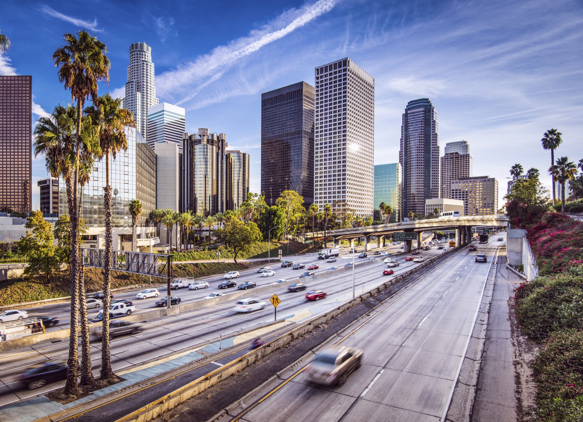 Cars in downtown Los Angeles