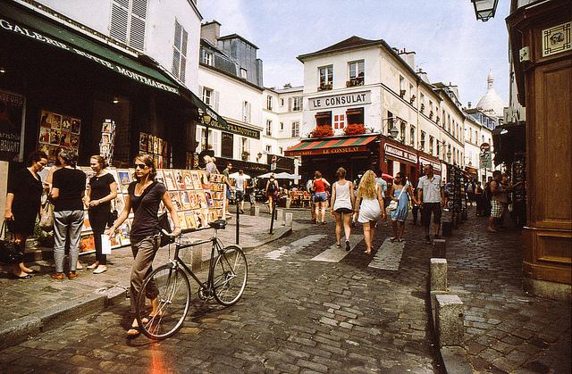 the streets of the Montmartre neighbourhood in Paris