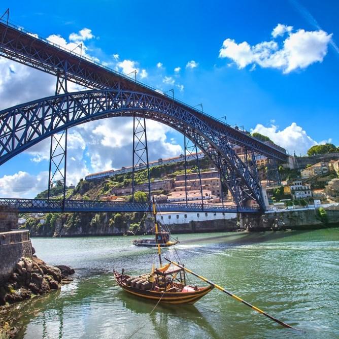 Άποψη της γέφυρας Dom Luis I από τις όχθες του Ντούρο.