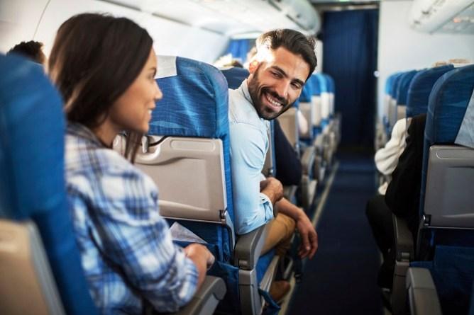 Happy passengers on a flight