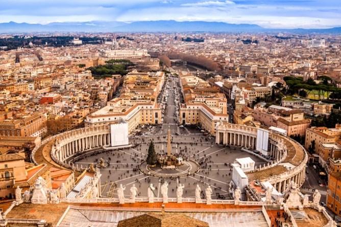Överblick över Vatikanen i Rom.