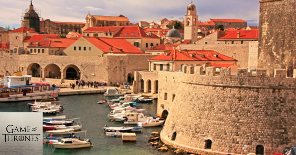 Red roofs dot the historic town of Dubrovnik, Croatia