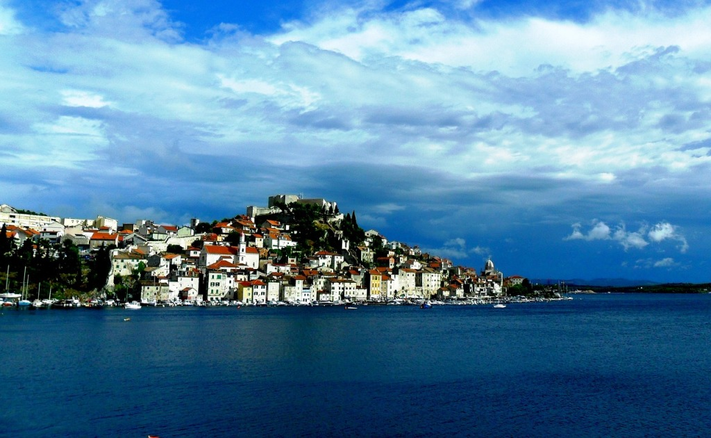 Sibenik, Croatia seen from the sea