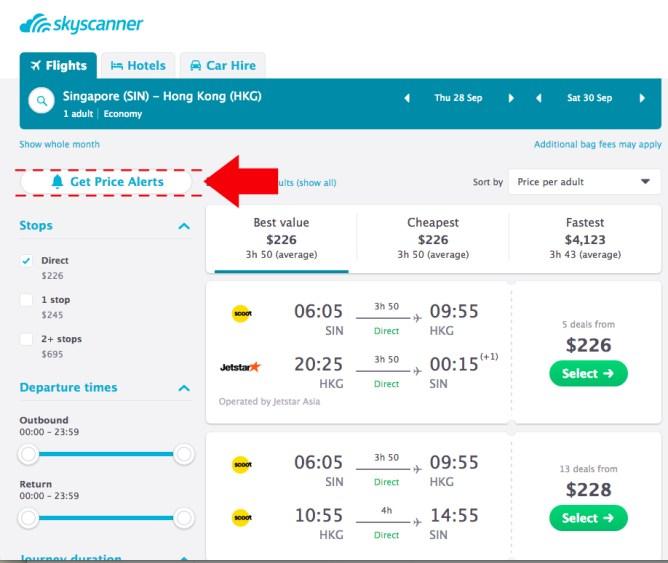 screenshot demonstrating where to find price alert notification