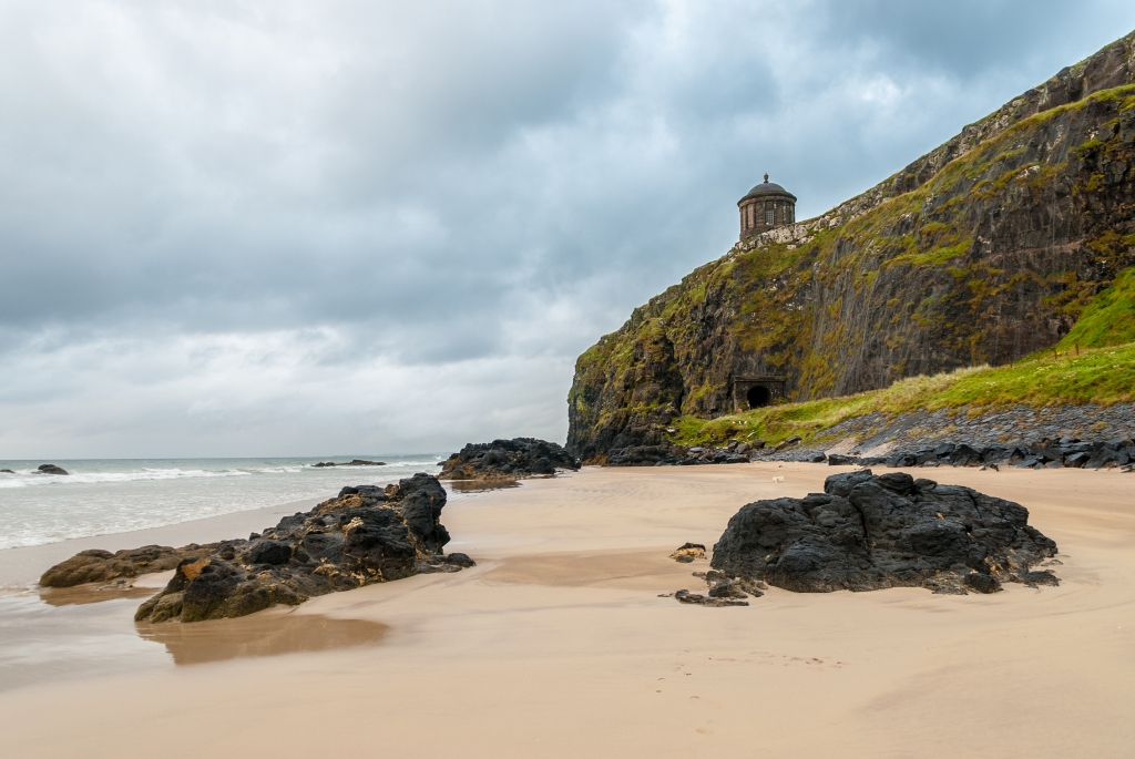 View of Mussenden Temple from Downhill Beach, Northern Ireland