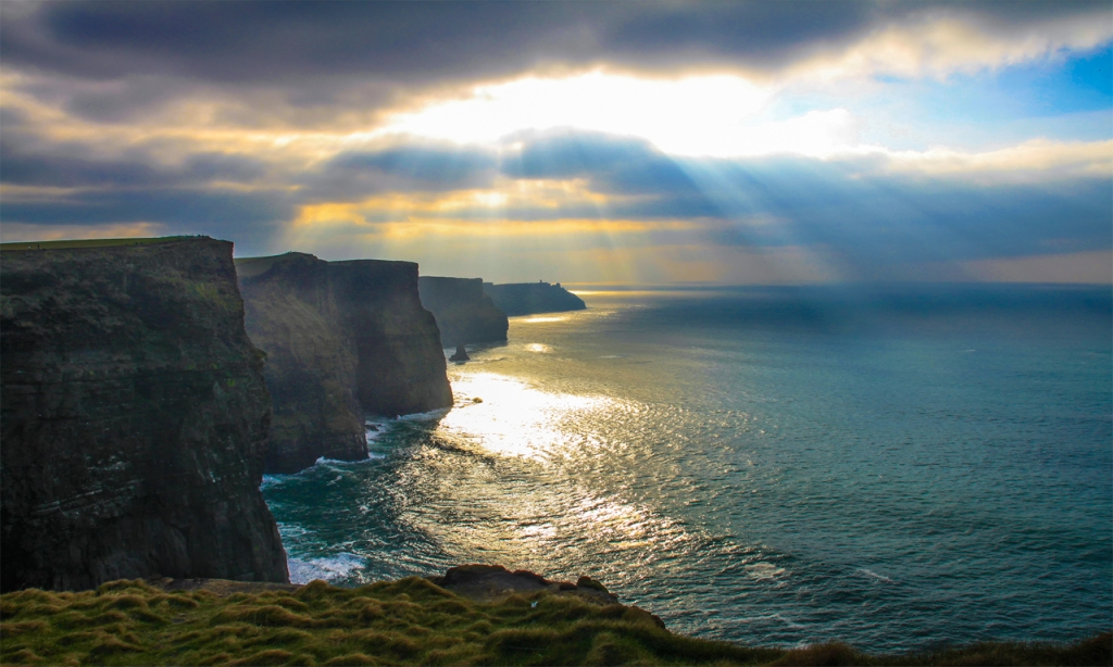 Scenic cliffs on a cloudy day in the Wild Atlantic Way