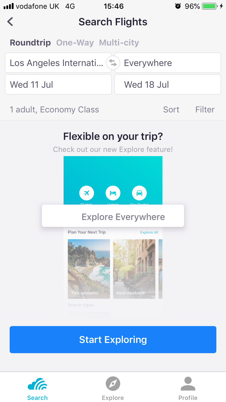 "Explore Everywhere within the app by typing ""everywhere"" into the destination"