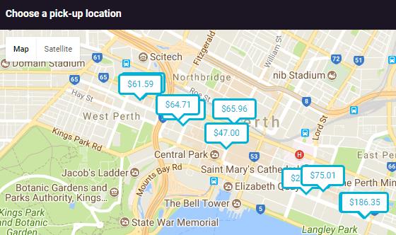 Perth Car Hire Map