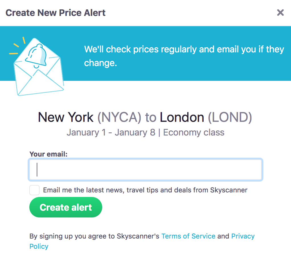 Skyscanner Price Alert