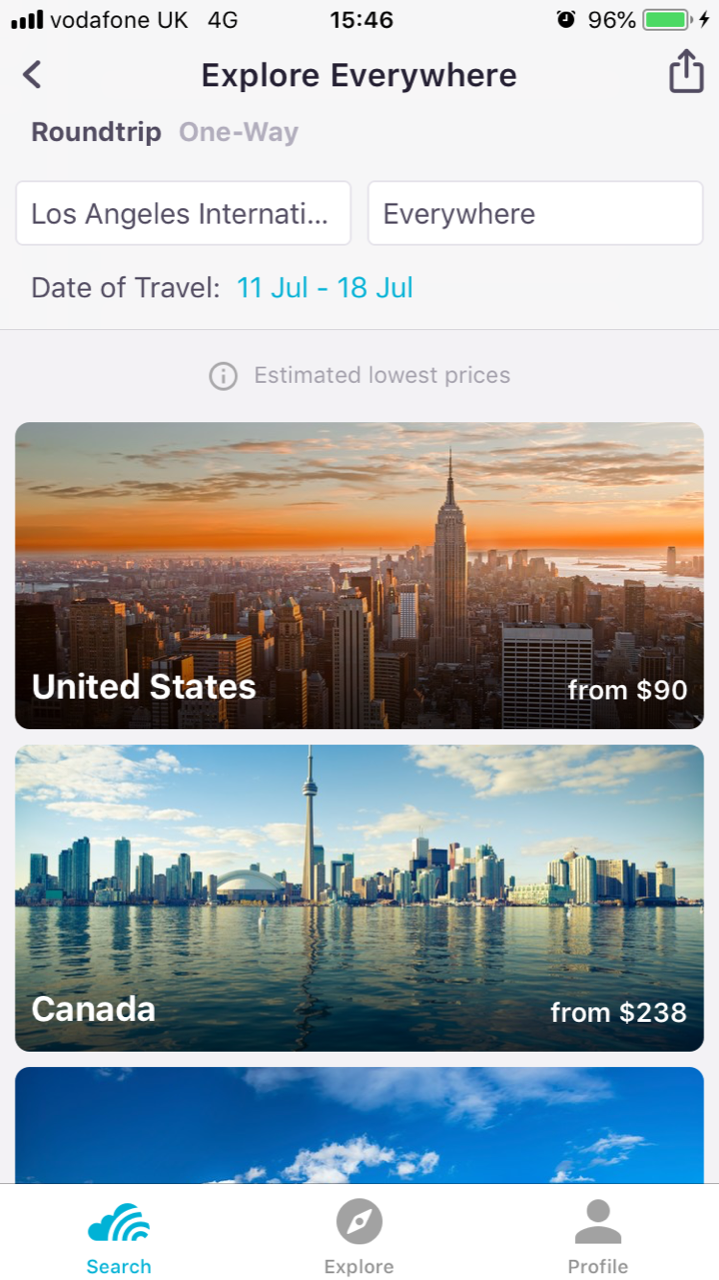 How to search flights to anywhere on Skyscanner within the app
