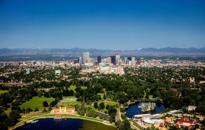 skyline, aerial view of Denver, Colorado