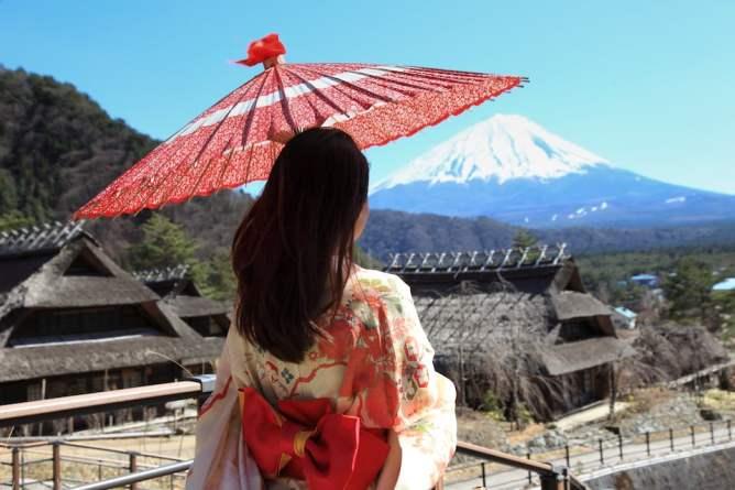 Lugares más instagrameables de Japón: Monte Fuji chica vestida con Kimono
