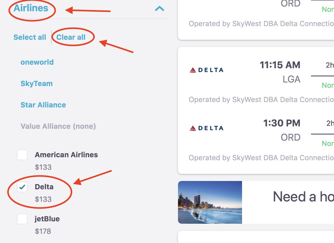 screenshot for the booking page on Skyscanner for Delta air lines flights Black Friday