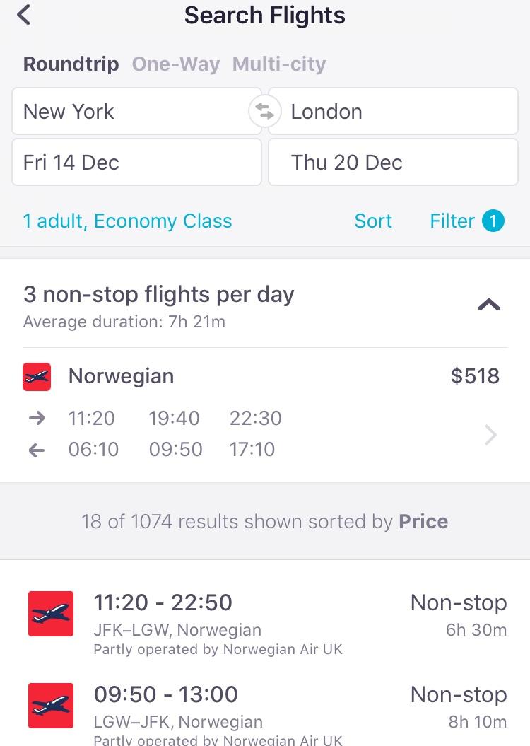 screenshot demonstrating how to find Norwegian Air on the Skyscanner app