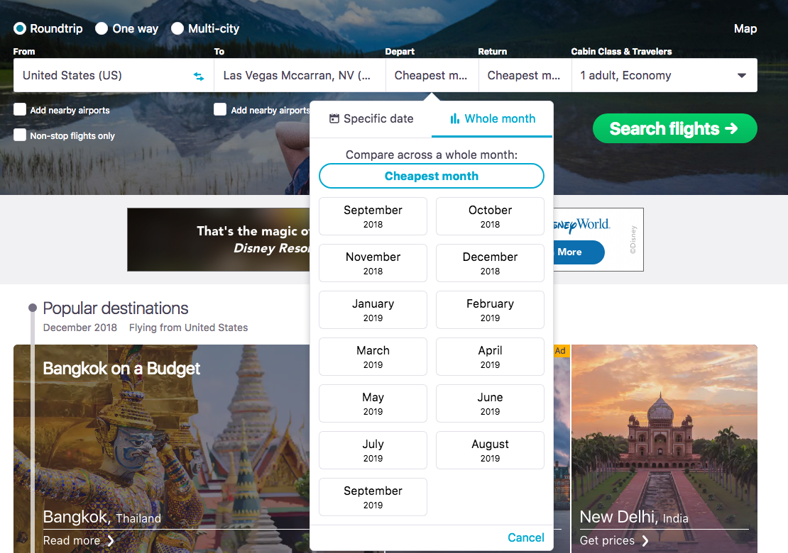 Cheapest Month Skyscanner