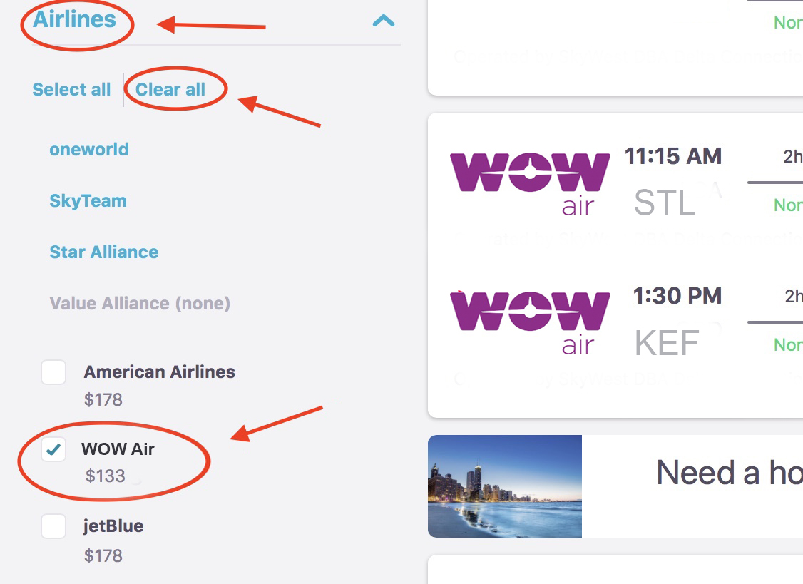 Just Click Clear All And Then Select Wow Air To See Which Deals They Curly Have On Offer