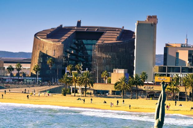 The industrial Barcelona Biomedical Research Park on Barceloneta beach