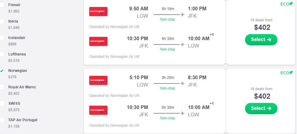 screenshot demonstrating how to find Norwegian Air flights on Skyscanner.com