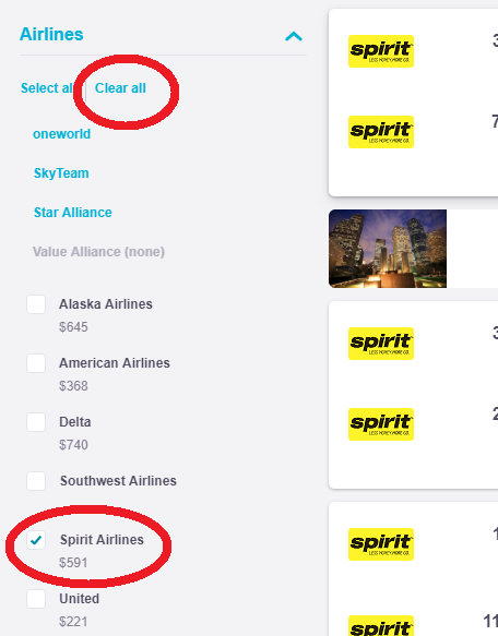 spirit airline search filter