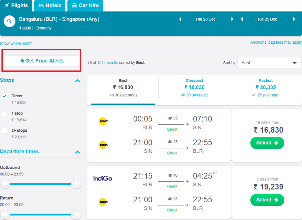 screenshot demonstrating where to find price alert button