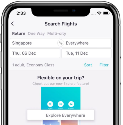 Screenshot of the Skyscanner app everyday search