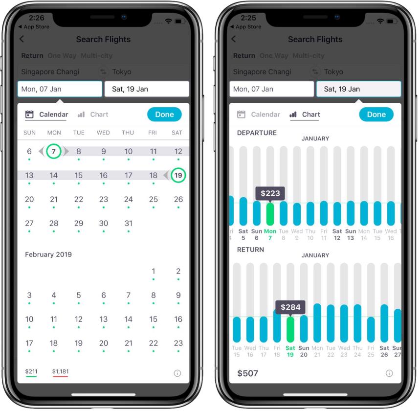 Different calendar views  on the app