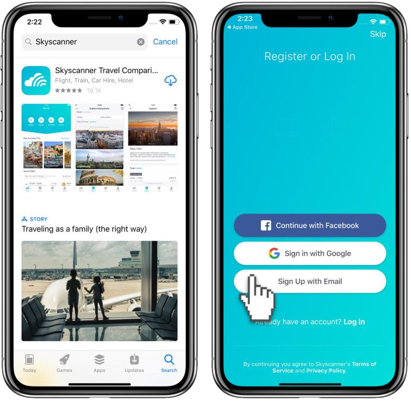 Skyscanner app easy log-in screenshot
