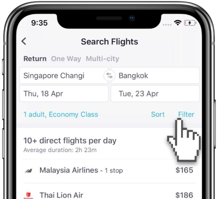 Filter button helps you customise your flight search