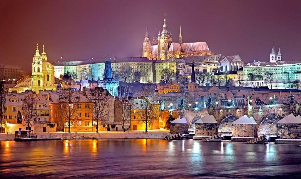 Prague in the snow