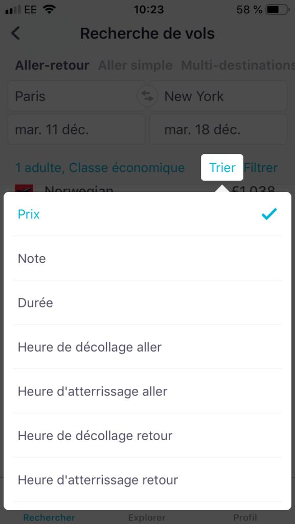 Filtre sur l'application skyscanner pour Iphone