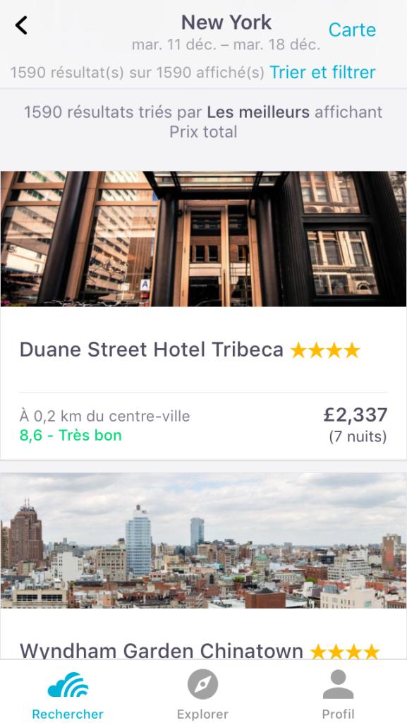 Recherche d'hôtels sur l'application Skyscanner sur Iphone
