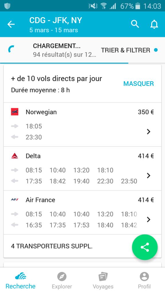 alerte prix application Skyscanner