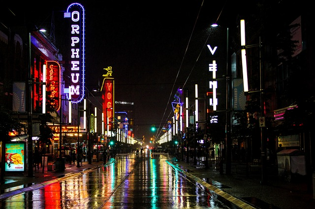 Granville street in Vancouver by night. Things to do in Vancouver.