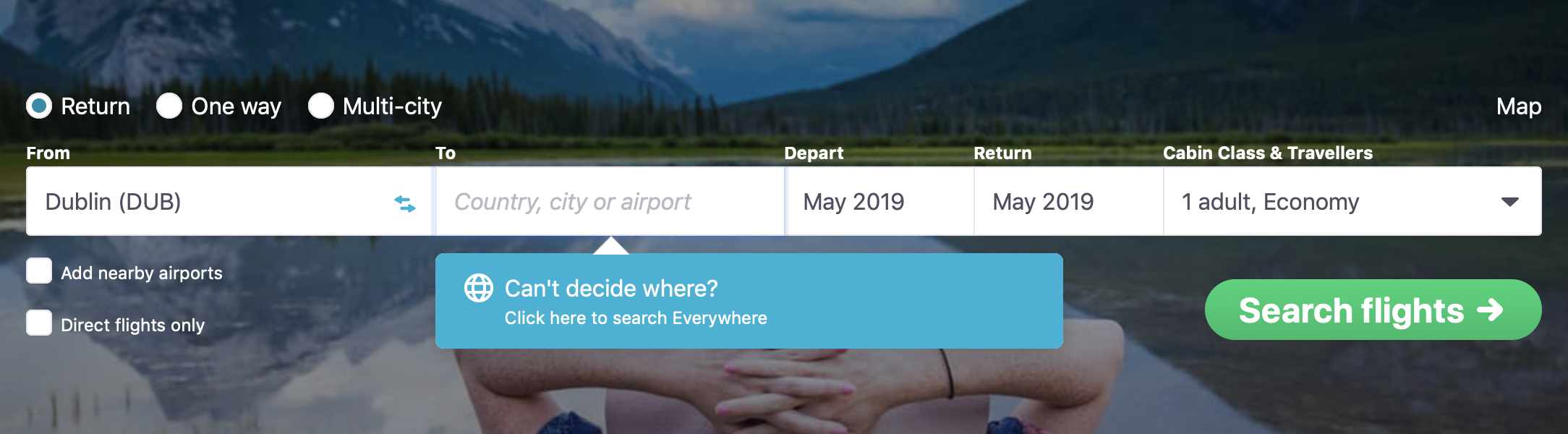 Selecting flights to Everywhere