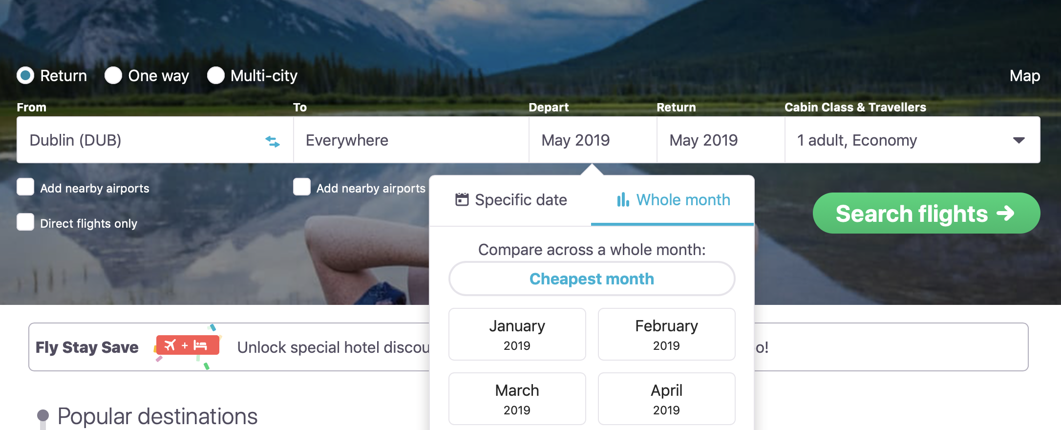 Selecting Cheapest Month on Skyscanner's search box