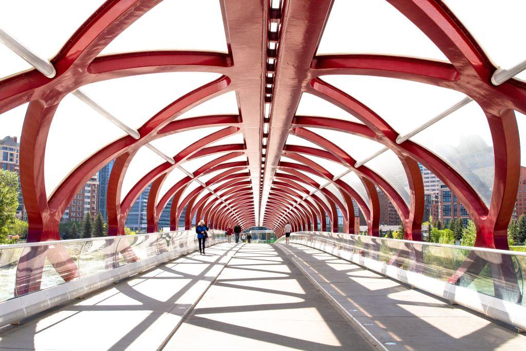 Red bridge in Calgary, Canada