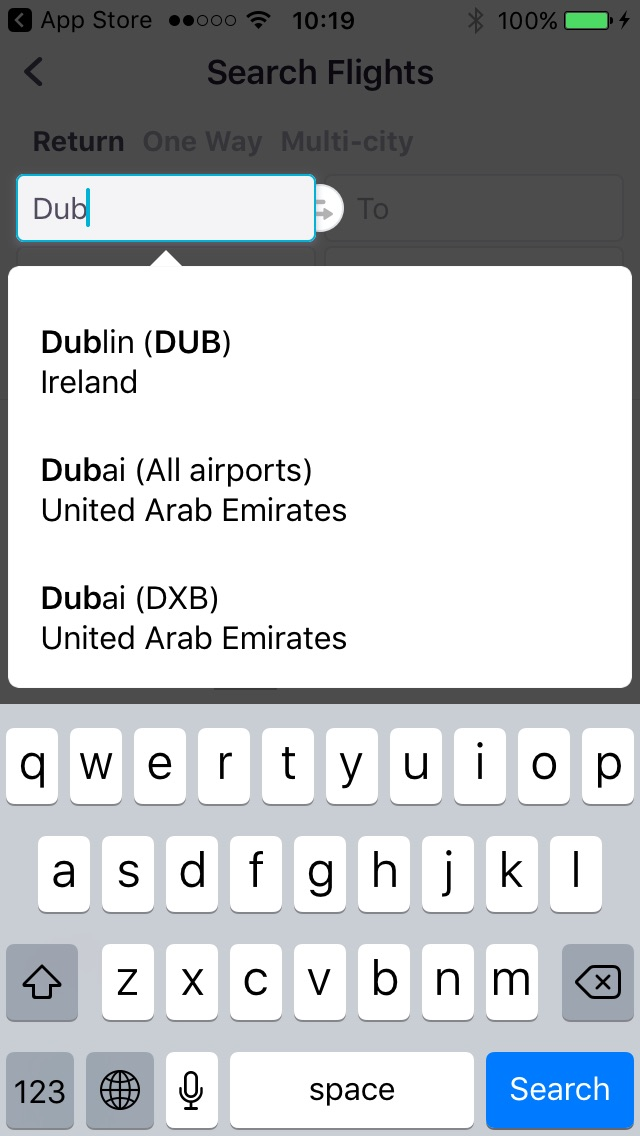 Selecting a destination in Skyscanner's search box